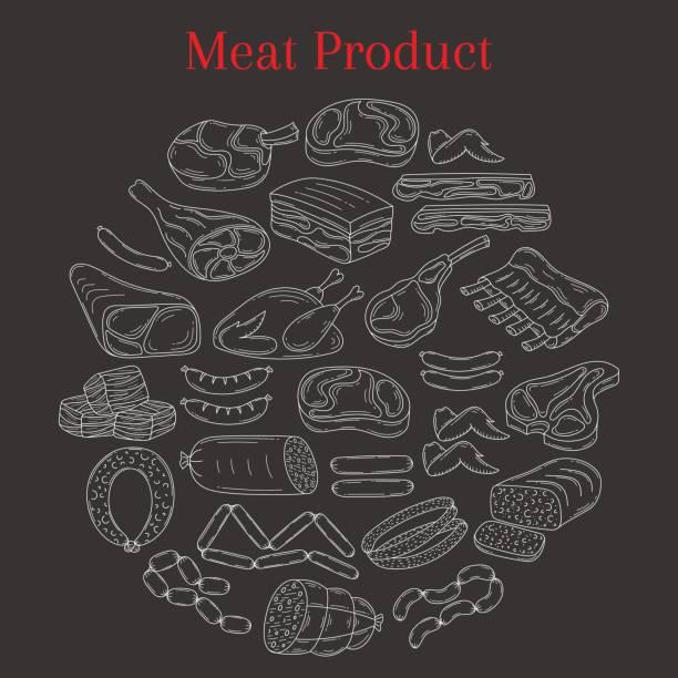 vektor-illustration mit verschiedenen arten von fleisch - schweinebauch stock-grafiken, -clipart, -cartoons und -symbole
