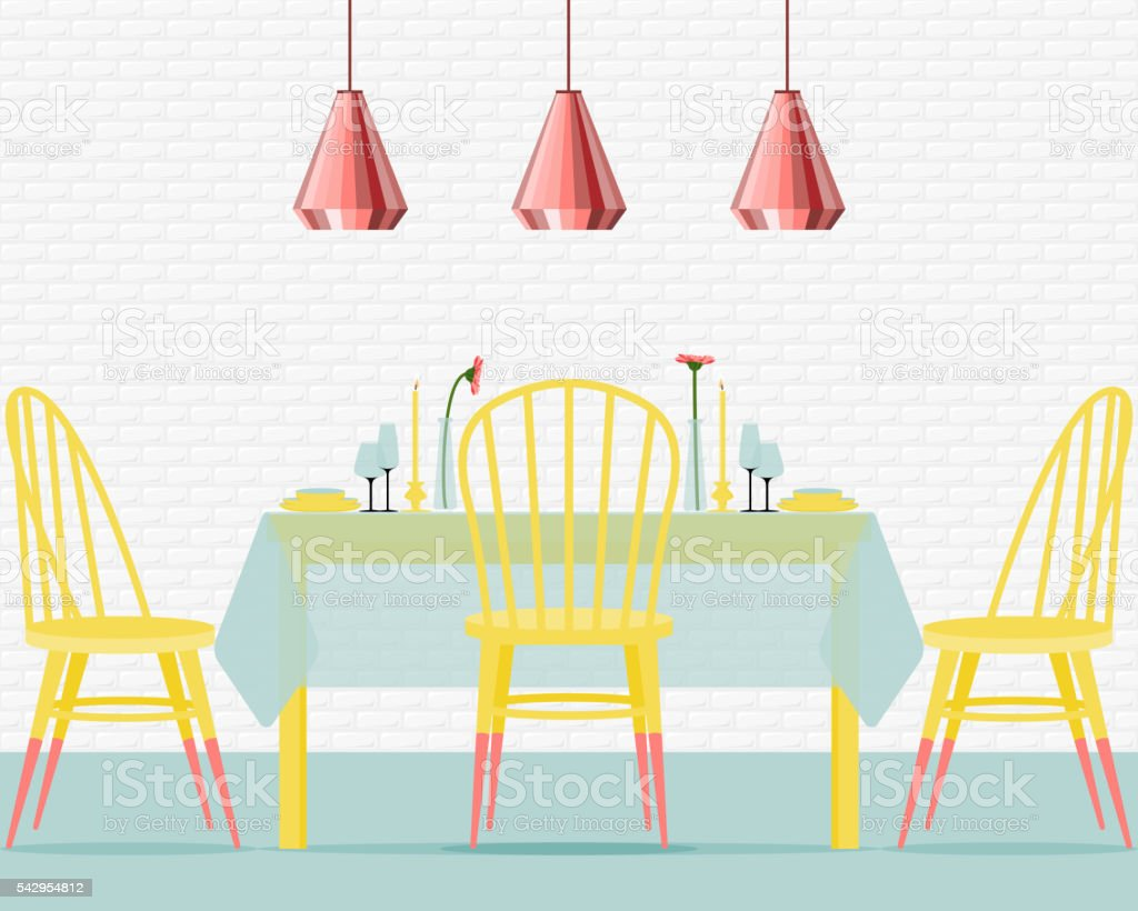 Vector illustration with dining room in flat style. vector art illustration
