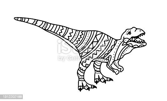 Vector illustration with dinosaur raptor for kids. Doodle style coloring book with small patterns. Coloring book for small children. Doodle drawing of a predatory lizard on its hind legs.