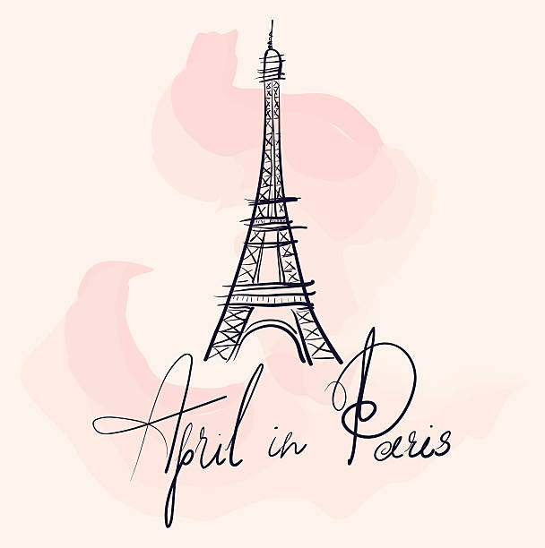 Vector illustration with Eiffel tower Vector hand drawn illustration with Eiffel tower. Symbol of Paris eiffel tower stock illustrations
