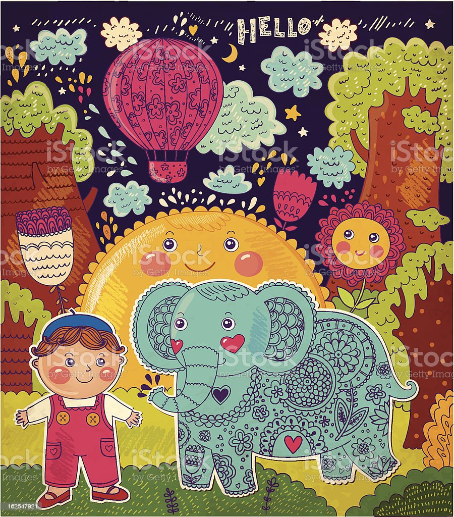 Vector illustration with elephant and boy royalty-free stock vector art