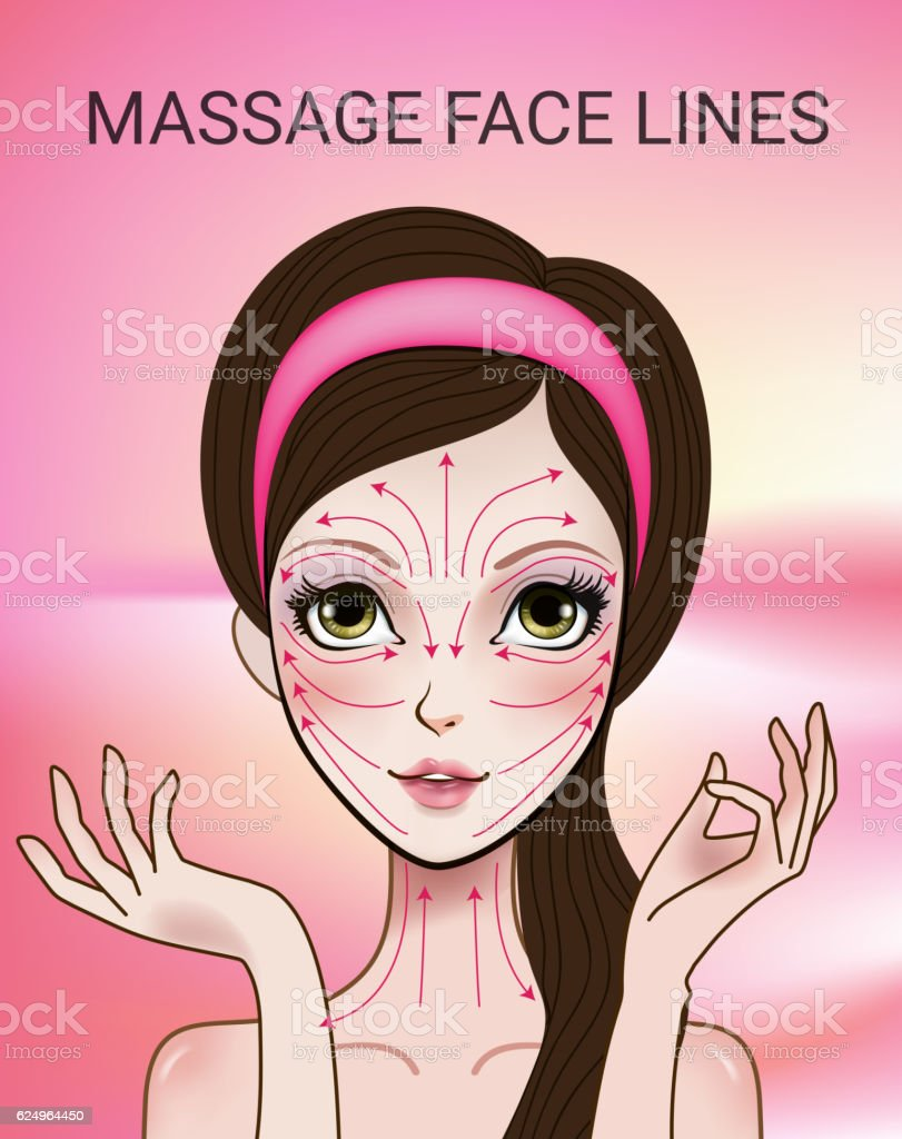 Vector illustration with face massage lines vector art illustration