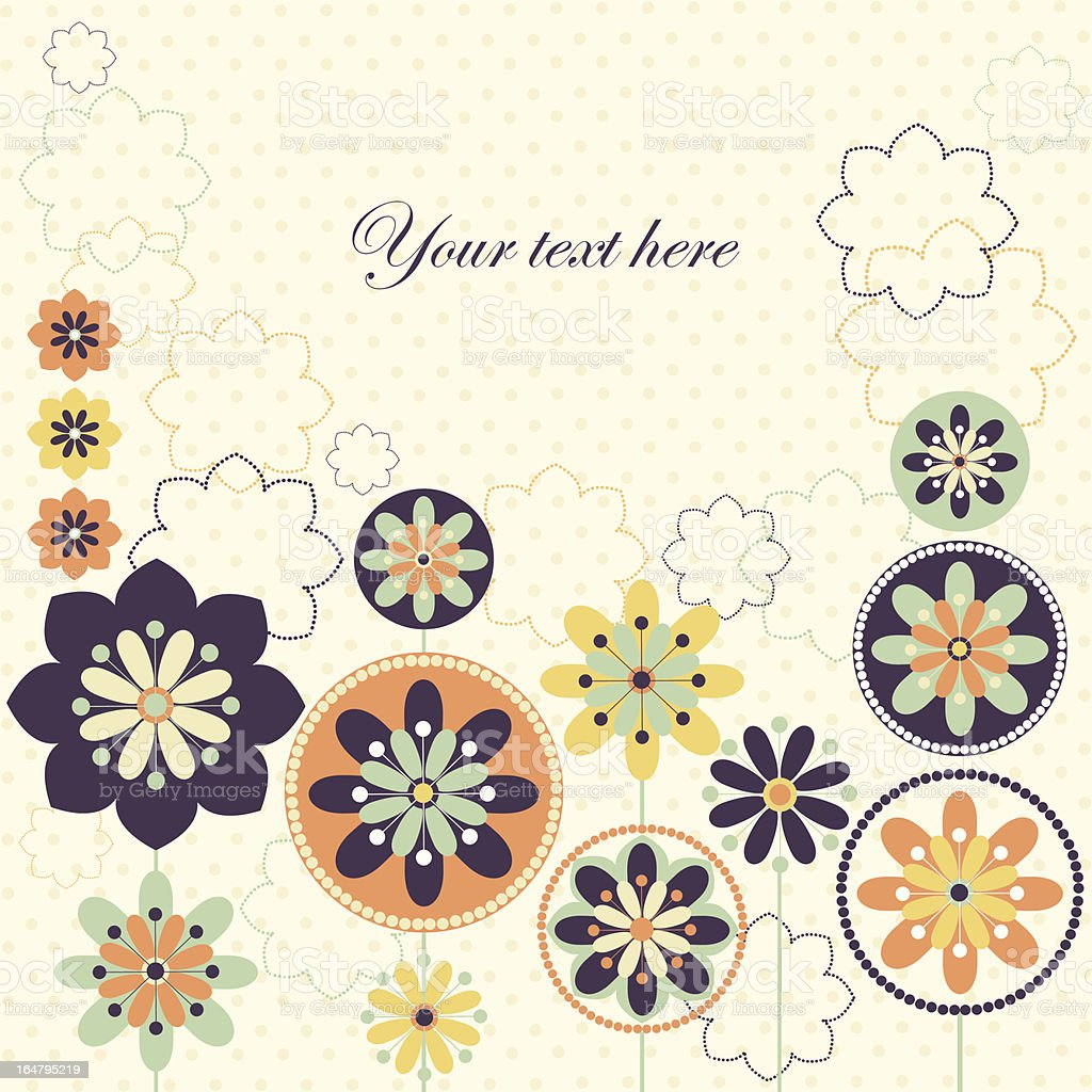 Vector illustration with fantastic spring flowers in retro colors. royalty-free stock vector art