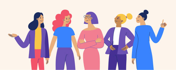 Vector illustration with female characters  - feminist movement and girl power concept  - stronger together happy diverse women - international women's day vector art illustration