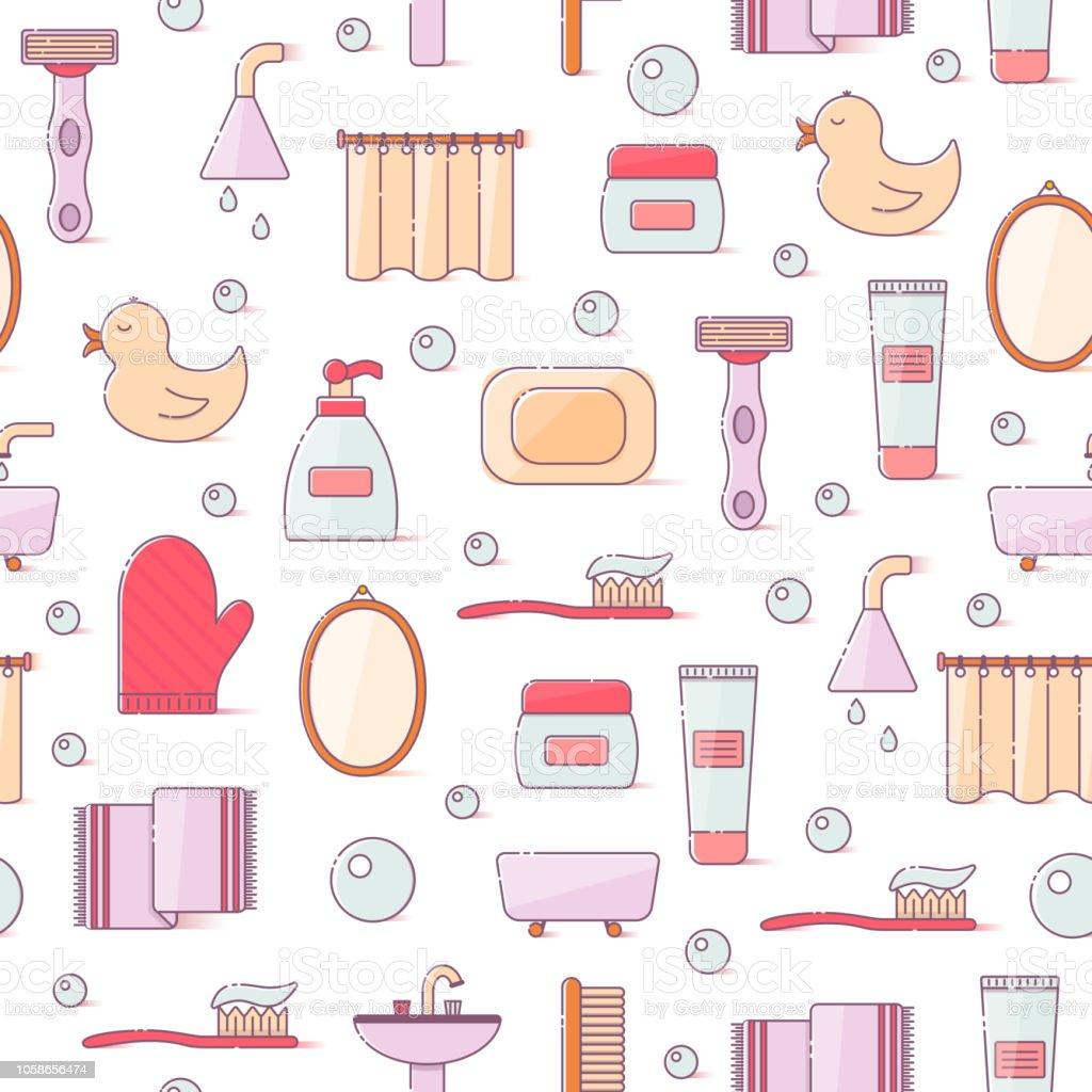 Vektorillustration Mit Flache Linie Cartoon Bad Hintergrund Stock Vektor  Art und mehr Bilder von Ausrüstung und Geräte