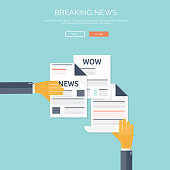 Vector illustration with flat newspapers. News and mass media concept