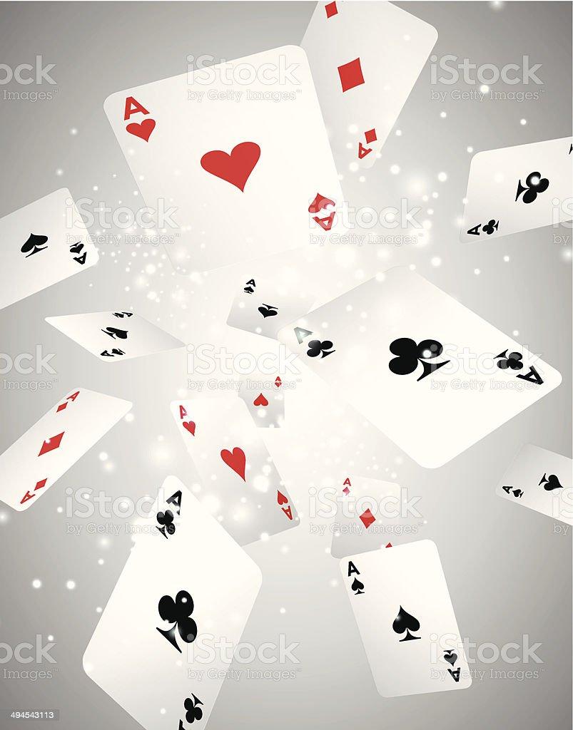 Ilustração vetorial com voando cartas de baralho - ilustração de arte em vetor