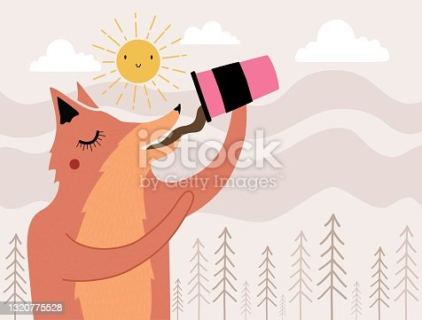 Vector illustration with fox drinking coffee, tea or hot chocolate. Doodle sun, clouds and pine trees background