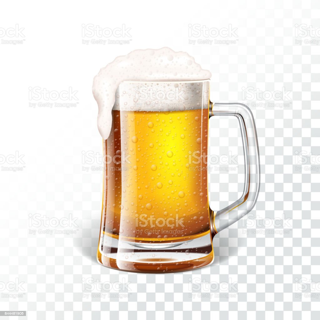 Vector illustration with fresh lager beer in a beer mug on transparent background. - illustrazione arte vettoriale