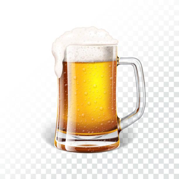 illustrations, cliparts, dessins animés et icônes de illustration vectorielle avec bière fraîche dans une chope de bière sur fond transparent. - mousse d'emballage