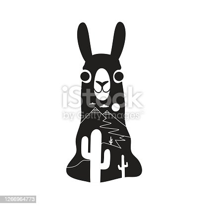 istock Vector illustration with funny llama head, cactus silhouettes and simple mountain landscape. 1266964773