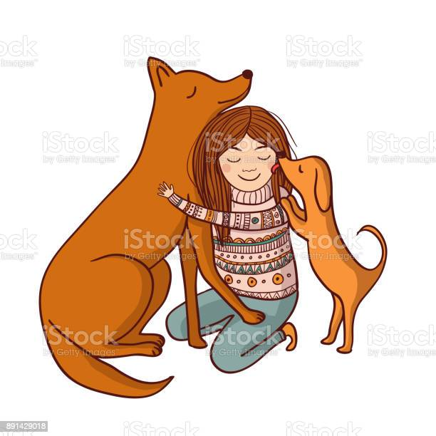 Vector illustration with girl and dogs vector id891429018?b=1&k=6&m=891429018&s=612x612&h=hhusyo1t0ttiz3qgth4xkcdwkt2sillncmadbzvt 3i=