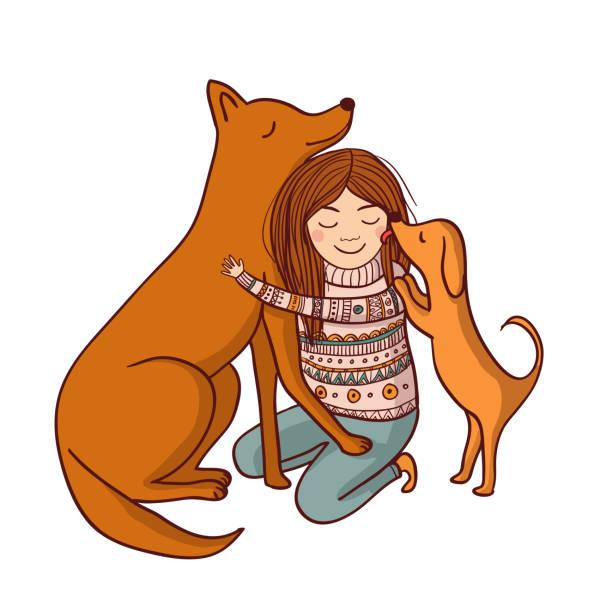 illustrations, cliparts, dessins animés et icônes de illustration vectorielle avec la fille et le chien - femme seule s'enlacer