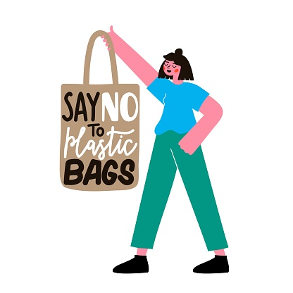 Vector illustration with girl holding textile tote bag and lettering phrase. Say no to plastic bags.