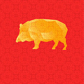 Vector Illustration with Golden Low Poly Pig on Red Background with Ornamental Pattern. Designed for Greeting Cards to Chinese New Year etc.