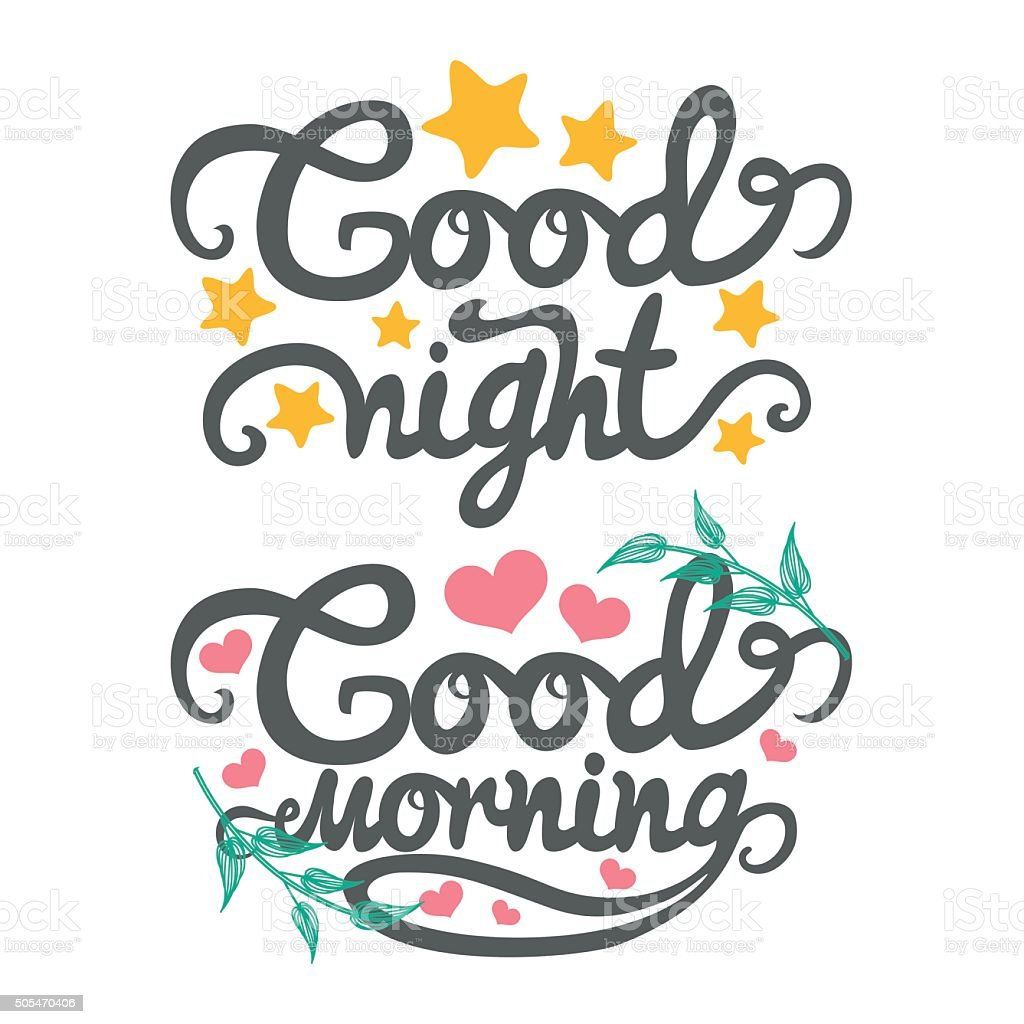 Vector Illustration With Good Night And Good Morning Words Stock