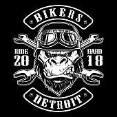 Vector illustration with Gorilla Biker. Design of motorcycle path with rider. Black and white version.