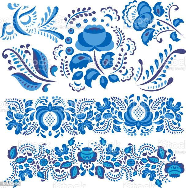 Vector illustration with gzhel floral motif in traditional russian vector id643208496?b=1&k=6&m=643208496&s=612x612&h=n9s0pcpkjblrqdniw5efqb5uakg226wrwz0maoxqfnq=