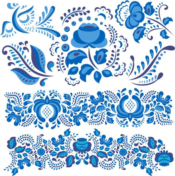 ilustraciones, imágenes clip art, dibujos animados e iconos de stock de ilustración de vector con motivo floral de gzhel en tradicional estilo ruso aislado en blanco y adornadas de flores y hojas en azul y blanco - rusia