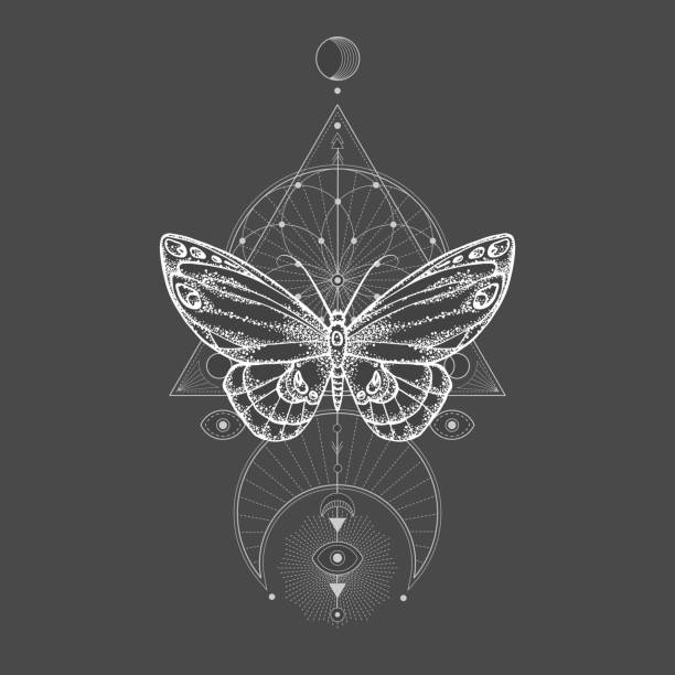 Vector illustration with hand drawn butterfly and Sacred geometric symbol on black background. Abstract mystic sign. Vector illustration with hand drawn butterfly and Sacred geometric symbol on black background. Abstract mystic sign. White linear shape. For you design, tattoo or magic craft. alchemy stock illustrations