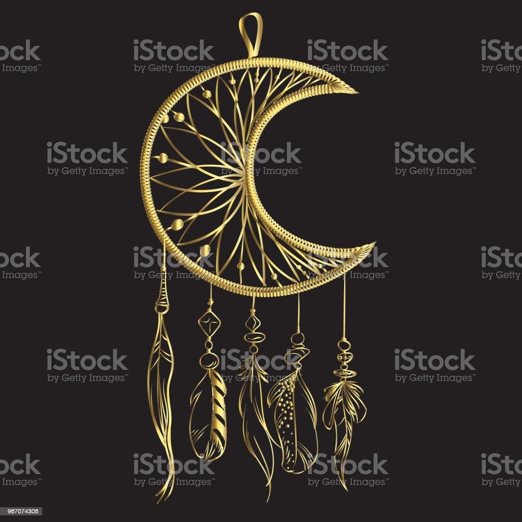 Illustration vectorielle avec capteur de rêves dessinés de main isolé sur un fond noir. Plumes de luxe doré et perles. - Illustration vectorielle
