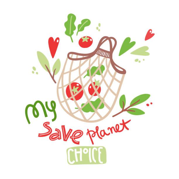 Illustration de vecteur avec le sac de corde écologique dessiné à la main. Pas de plastique. Mon choix de planète sauver - Illustration vectorielle