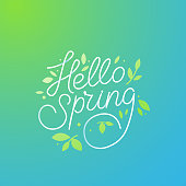 istock Vector illustration with hand-lettering text hello spring 1092155028
