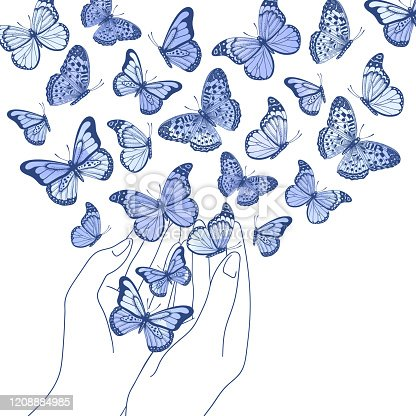istock Vector illustration with hands holding blue watercolor butterflies on white background 1208884985