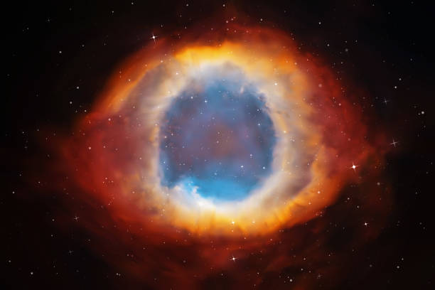 Vector illustration with Helix Nebula Planetary nebula in deep space. Abstract colorful background nebula stock illustrations
