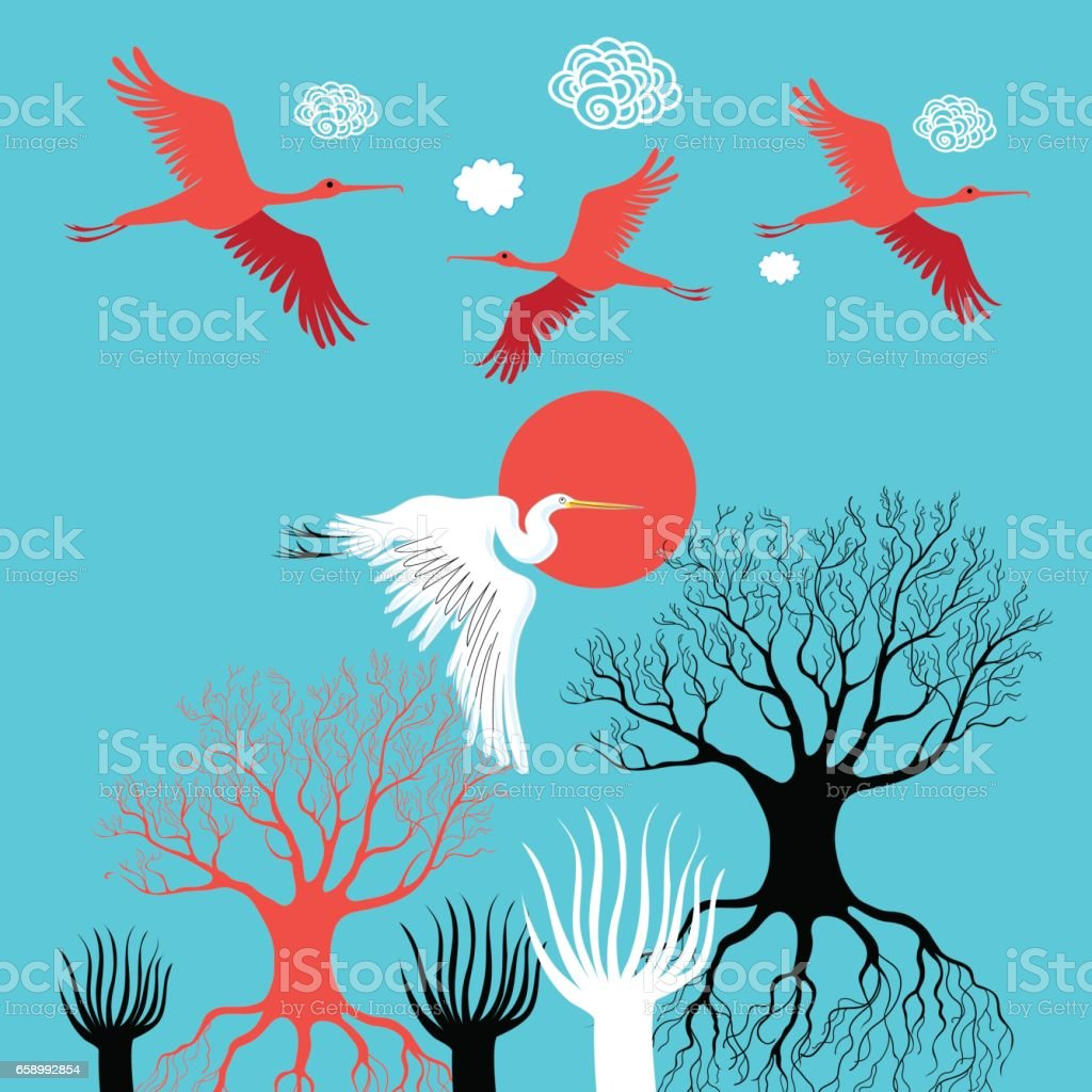 Vector illustration with herons and ibises royalty-free vector illustration with herons and ibises stock vector art & more images of art