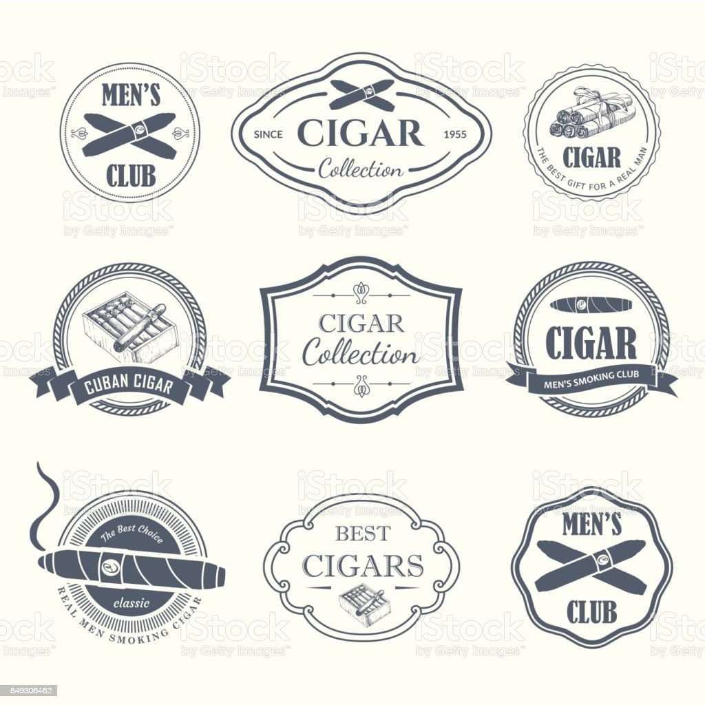 Vector Illustration with icon and labels. Simple symbols tobacco, cigar. Traditions of smoke. Decorative illustrations, icon for your design. Gentleman style vector art illustration
