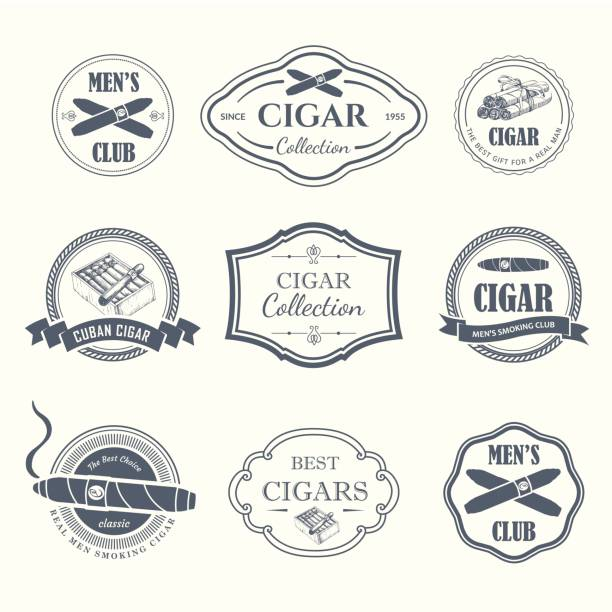vector illustration with icon and labels. simple symbols tobacco, cigar. traditions of smoke. decorative illustrations, icon for your design. gentleman style - delis stock illustrations