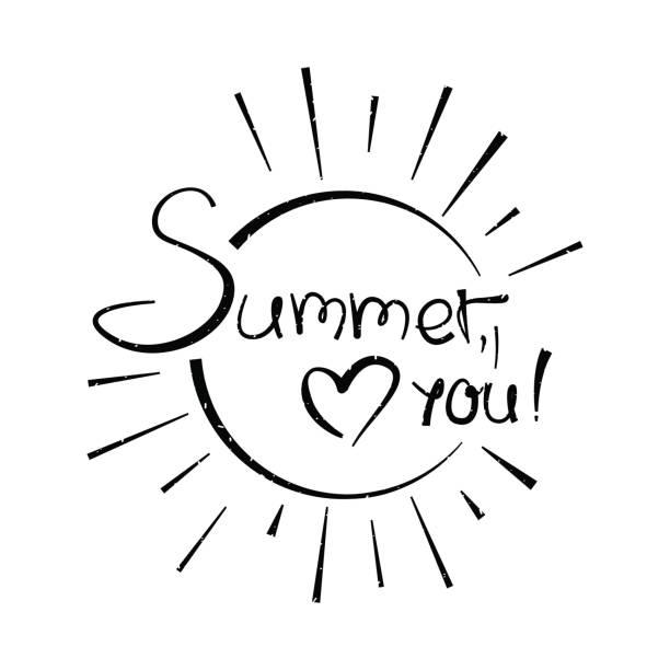 Vektor-Illustration mit Aufschrift Sommer, liebe dich – Vektorgrafik