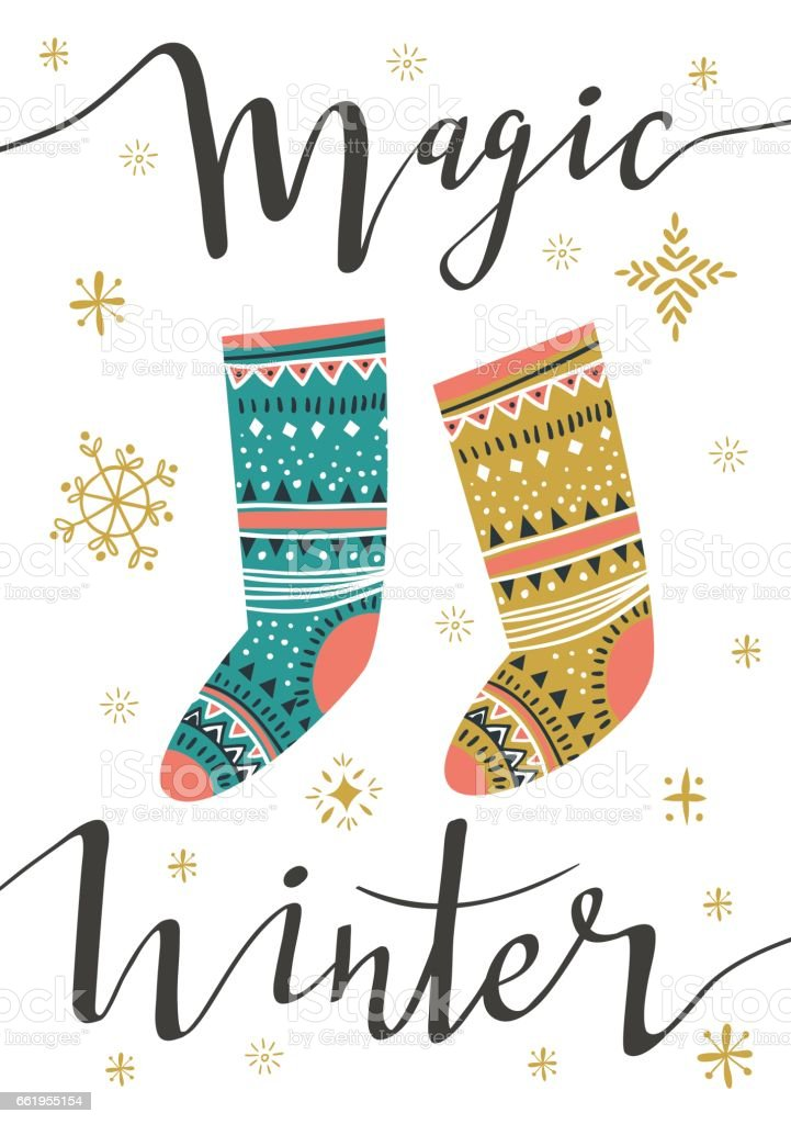 Vector illustration with isolated christmas poster. Christmas socks. royalty-free vector illustration with isolated christmas poster christmas socks stock vector art & more images of backgrounds