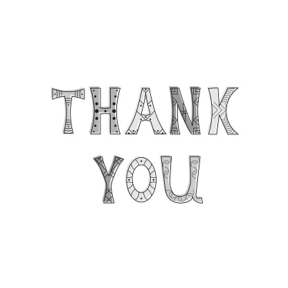 Vector illustration with isolated inscription Thank You on white background.