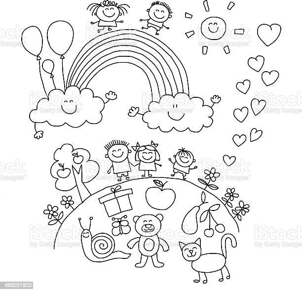 Vector illustration with kids vector id493031920?b=1&k=6&m=493031920&s=612x612&h=eorohfhtrhxnvh5qrvcnx0pdq3g3vn0n92jqfe1nyus=