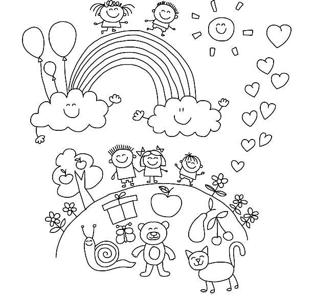 Vector illustration with kids. vector art illustration