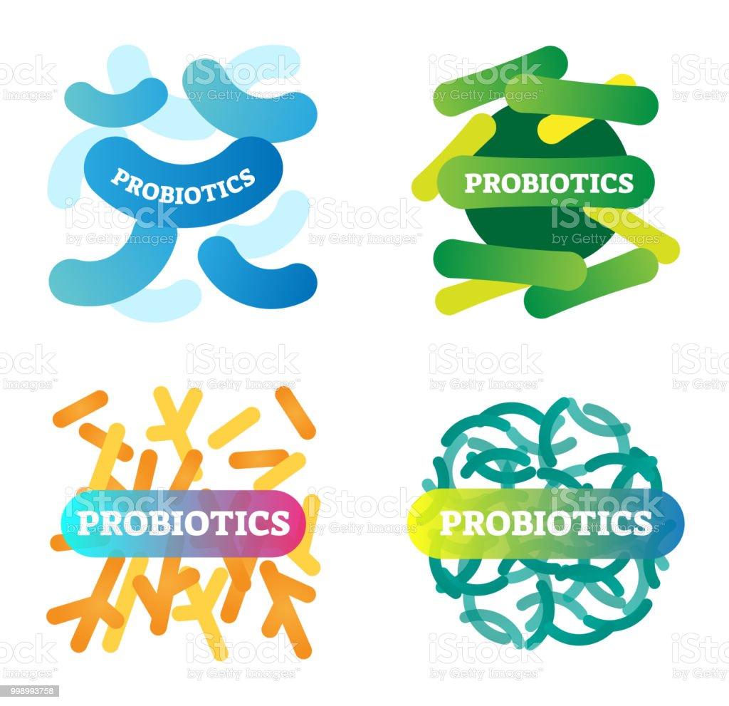 Ilustración de Ilustración De Vector Con Probióticos Etiqueta Icono ...