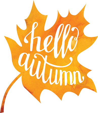 Vector illustration of maple leaf with hand written phrase Hello autumn. Hand written slogan on bright watercolor texture isolated on white background for your poster, placard, card or flyer design.