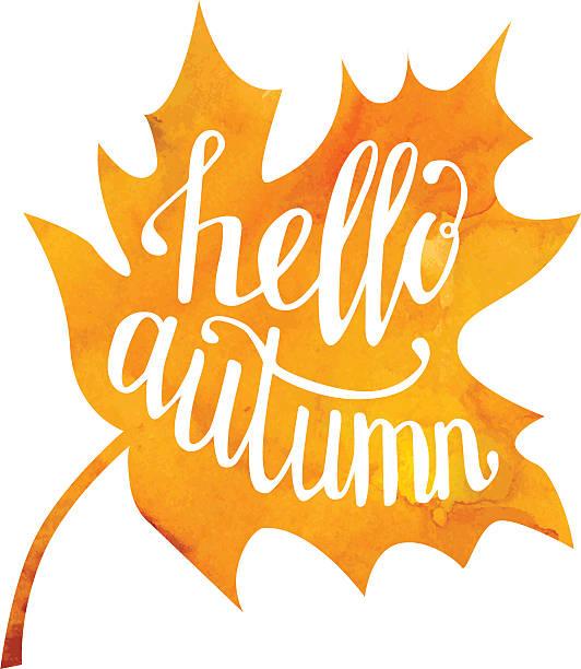 Vector illustration with lettering Hello autumn vector art illustration