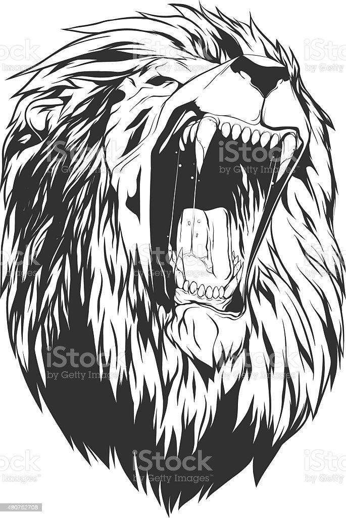 Vector illustration with lion head vector art illustration