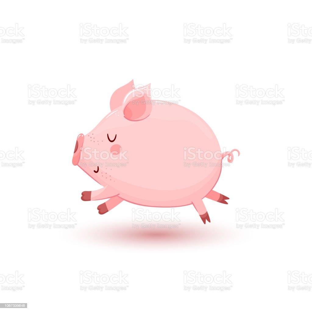 Vector illustration with little running pig vector art illustration