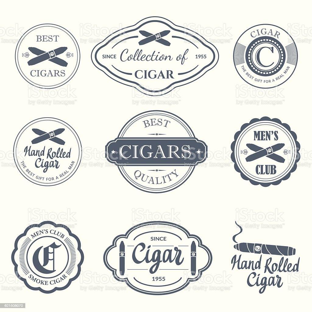 Vector Illustration with logo and labels. Simple symbols  tobacco  cigar vector art illustration