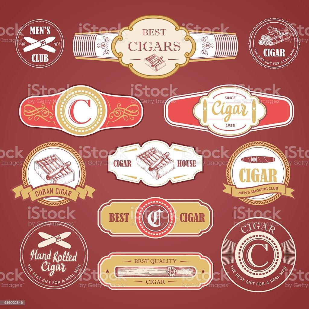 Vector Illustration with logo and labels. Simple symbols tobacco, cigar vector art illustration