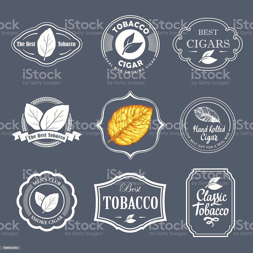 Vector Illustration with logo and labels. Simple symbols tobacco, cigar vector art illustration