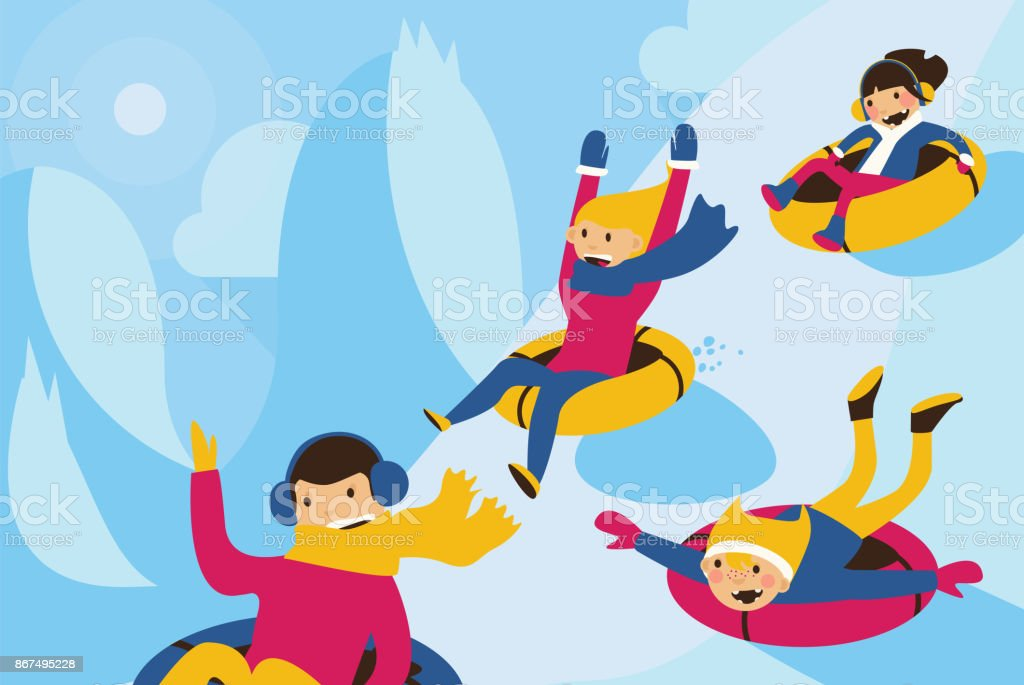 Vector illustration with lovely family tubing down the hill. vector art illustration