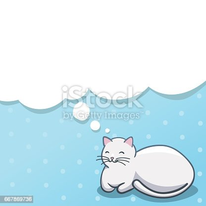 istock Vector illustration with lying white cat on blue dotted background 667869736
