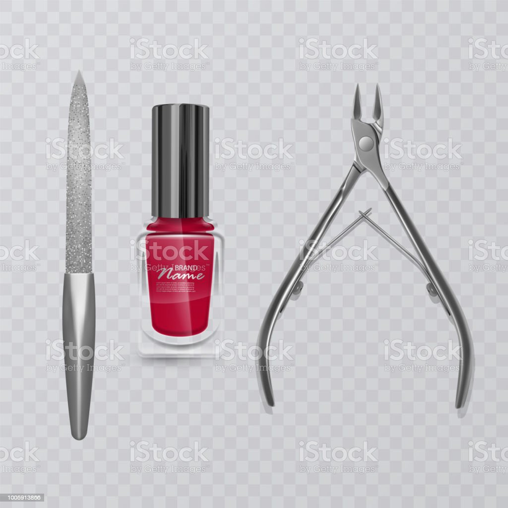 Vector Illustration With Manicure Tools Red Nail Polish Nail File ...