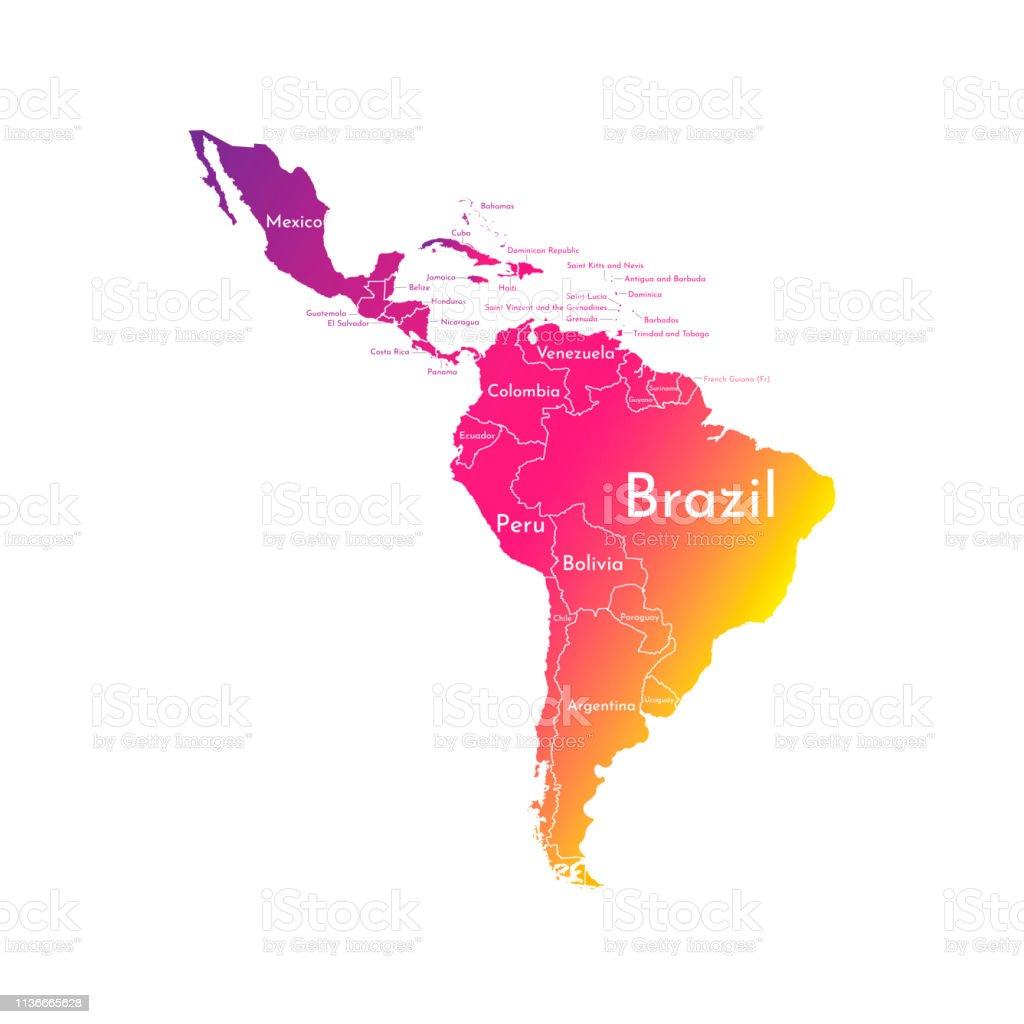 Mapa Sudamerica Y Centroamerica.Ilustracion De Ilustracion Vectorial Con Mapa Del Continente