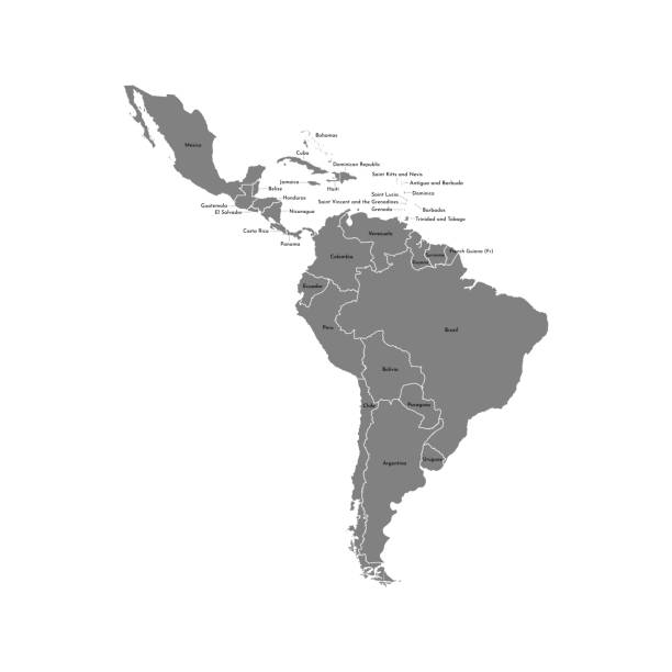 Vector illustration with map of South America continent and part of Central America Vector illustration with map of South America continent and part of Central America. Grey silhouettes, white grey background. Text with names of independent states latin america stock illustrations